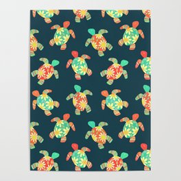 Cute Flower Child Hippy Turtles Poster