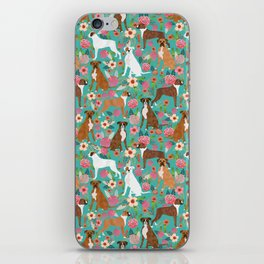 Boxer dog breed florals flower dog pattern gifts for pure breed lovers boxers iPhone Skin