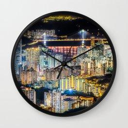 Hong Kong City View At Night Wall Clock