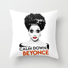 """Calm down Bey!"" Bianca Del Rio, RuPaul's Drag Race Queen Throw Pillow"