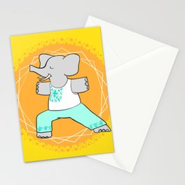 Yoga elephant - warrior pose Stationery Cards