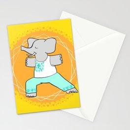 Yoga elephant - warrior pose Stationery Cards