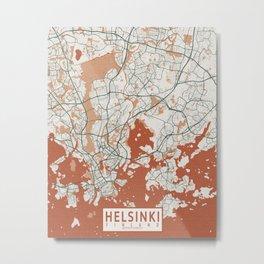 Helsinki City Map of Finland - Bohemian Metal Print