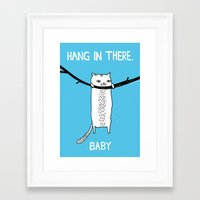 hello Framed Art Prints featuring Hang in There, Baby by gemma correll