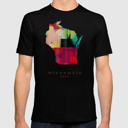 Wisconsin state map modern T-shirt