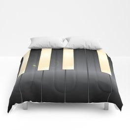 White And Black Piano Keys Comforters