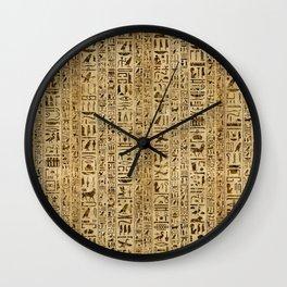 Egyptian hieroglyphs on papyrus Wall Clock