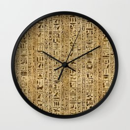 Egyptian hieroglyphs on papyrus Wall Clock