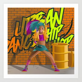 hip hop urban woman dancer in the street Art Print