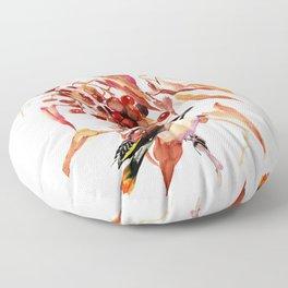 Waxwing Bird and Fall Faliage Floor Pillow