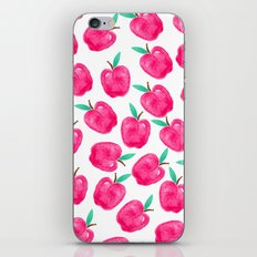 Pink turquoise watercolor apples back to school pattern iPhone & iPod Skin