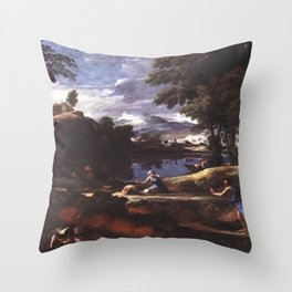 Nicolas Poussin - Landscape with a Man killed by a Snake Throw Pillow