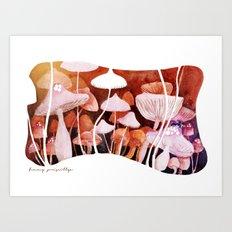 Field of Mushrooms Art Print