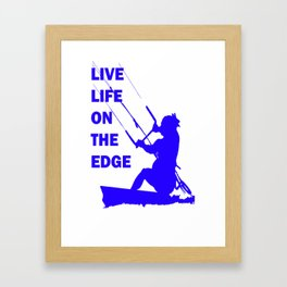 Live Life On The Edge Neon Blue Kitebeach Framed Art Print