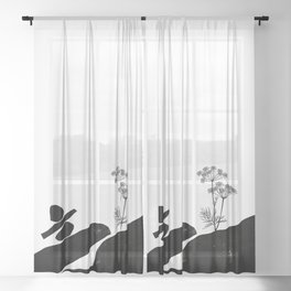Out Of Resources - Protect Earth Minimalism Sheer Curtain