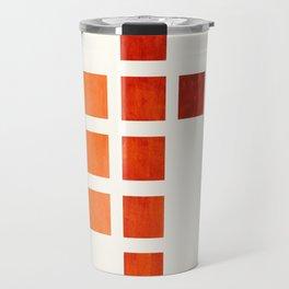 Colorful, Burnt Sienna, Mid Century, Modern, Minimalist, Square, Geometric, Pattern Travel Mug