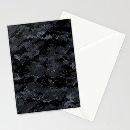 Pixelated Dark Grey Camouflage Stationery Cards