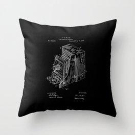 Vintage Camera Patent - White on Black Throw Pillow