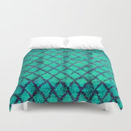 -A4- Stylish Green Traditional Moroccan Carpet Texture. Duvet Cover