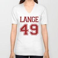 jessica lange V-neck T-shirts featuring Jessica Lange Varsity by NameGame