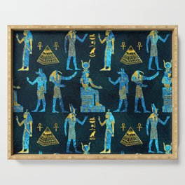 Egyptian  Gold and blue glass pattern Serving Tray