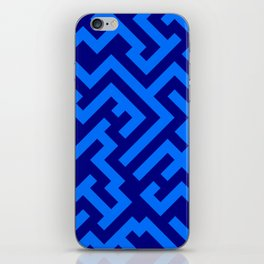 Brandeis Blue and Navy Blue Diagonal Labyrinth iPhone Skin