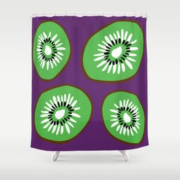 Bright Purple and Green Kiwifruit Pattern Shower Curtain