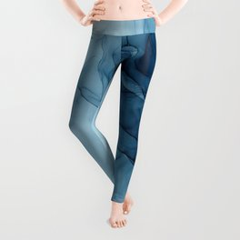 Classic Blue Abstract Abyss Painting Leggings