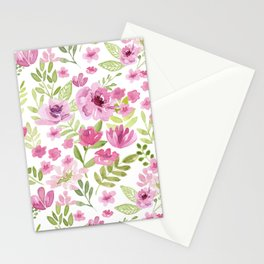 Watercolor/Ink Sweet Pink Floral Painting Stationery Cards