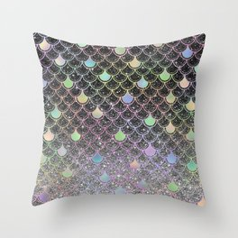 Mermaid scales ombre glitter #2 Throw Pillow
