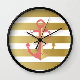 AFE Nautical Pink and Gold Anchor Wall Clock