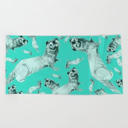 Mink in Bleu (pattern) Beach Towel