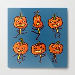 Six dancing pumpkins Metal Print
