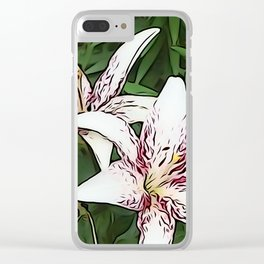 White And Red Lily  Clear iPhone Case