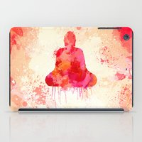 buddhism iPad Cases featuring Red Buddha Watercolor art by Thubakabra