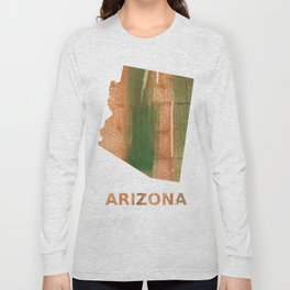Arizona map outline Peru green streaked wash drawing Long Sleeve T-shirt