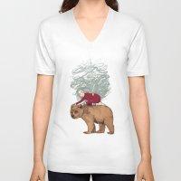 winter V-neck T-shirts featuring Winter by Sandra Dieckmann
