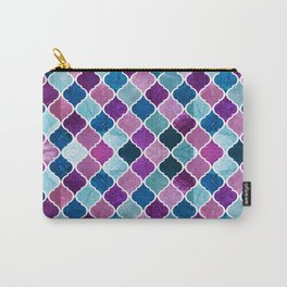 Watercolor Purple and Blue Trellis Pattern Carry-All Pouch