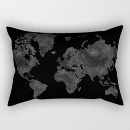"Black and gray watercolor world map ""Coal mine"" Rectangular Pillow"