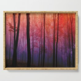 Whispering Woods, Colorful Landscape Art Serving Tray