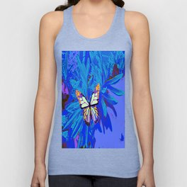 Tropical Blue Abstract Butterfly Purple Unisex Tank Top