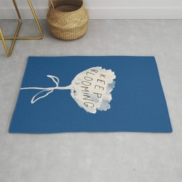 """Classic Blue and White Abstract Flower and Quote """"Keep Blooming"""" Rug"""