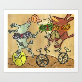 The dogs at the circus Art Print