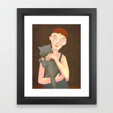 Girl with Cat Framed Art Print