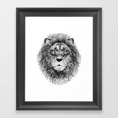 Black+White Lion Framed Art Print