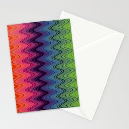 Rainbow waves pattern vertical Stationery Cards