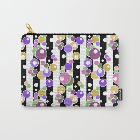 Colorful polka dots on black and white striped background . Carry-All Pouch
