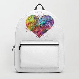 Heart Watercolor Art Love Gift Valentine's Day Gift Wedding Art Engagement Gift Backpack
