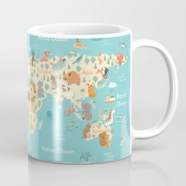 Animals world map for kid Coffee Mug