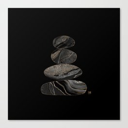 Zen Stones Black Marble and gold Canvas Print